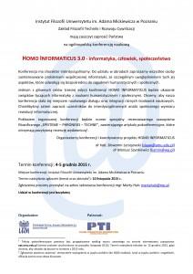 HOMO INFORMATICUS 3.0 – informatyka, człowiek, społeczeństwo