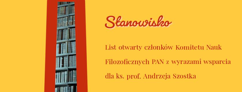 List otwarty członków KNF PAN z wyrazami wsparcia dla ks. prof. Andrzeja Szostka