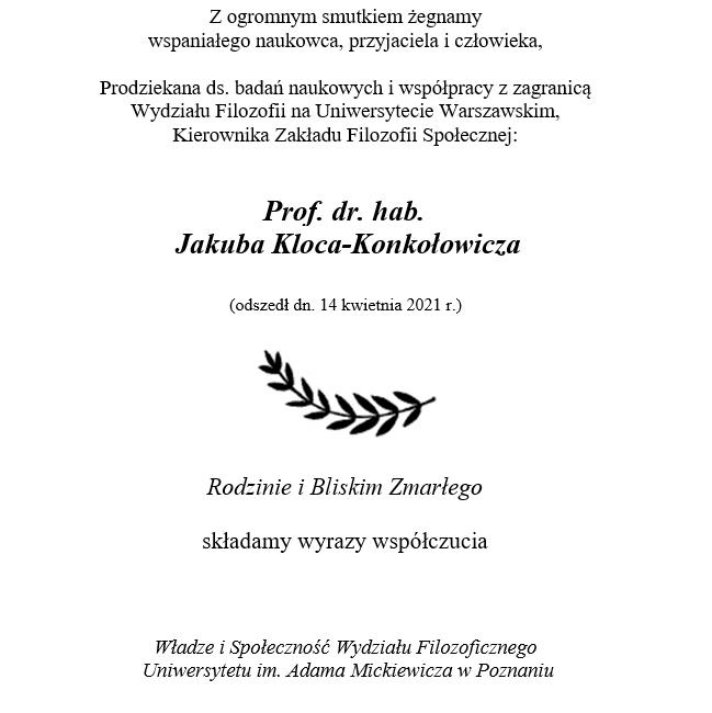 Pożegnanie Prof. dr. hab. Jakuba Kloca-Konkołowicza