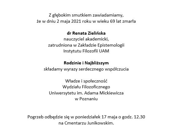 Pożegnanie dr Renaty Zielińskiej